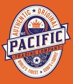 Vintage Americana Style Pacific Label Vector — Stock Vector