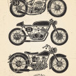 Vintage Motorcycle Set — Stock Vector