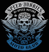 Speed Junkies Motorcycle Vintage Design — Vector de stock