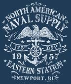 Vintage Nautical Design for Apparel — Stock Vector