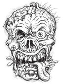 Sketchy Zombie Head — Stock Vector