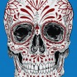 Stock Vector: Realistic Cross Hatched Day of Dead Sugar Skull