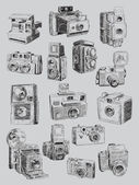 Sketchy Vintage Camera Set — Stock Vector