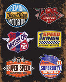 Vintage Motor Oil Signs and Label Set — Stock Vector