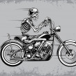 Skeleton Riding Motorcycle Vector Illustration — Stock Vector
