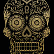 Ornate One Color Sugar Skull — Vector de stock  #42758663