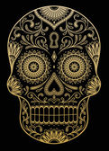Ornate One Color Sugar Skull — Vector de stock