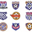 Football Soccer Badges, Patches and Emblem Vector Set — Stock Vector