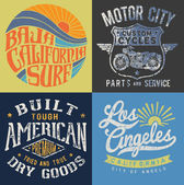 Vintage T-shirt Graphic Set — Stock Vector