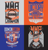 MMA t-shirt design emblem set — Stock Vector