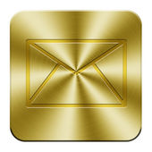 Golden mail button — Stock Photo
