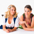 Two women wearing dirndls - Stock Photo