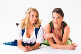Two women wearing dirndls — Stock Photo