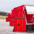Red beach chairs — Stock Photo