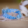 Thin silver tiara and garter — Stock Photo