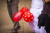 Three red balloons — Stock Photo