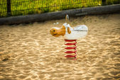 Wooden spring animal in Berlin — Stockfoto