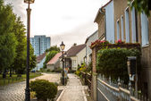 Cobble stone road in Berlin, Marzahn — Stock Photo