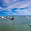 Cargo ferry leaves harbor — Stock Photo