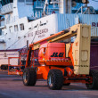 Orange hoisting crane in Hirtshals, Denmark — Stock Photo