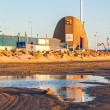 Puddle and dockyard in Hirtshals — Stock Photo #28989701