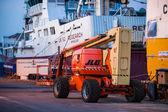 Orange hoisting crane in Hirtshals, Denmark — Stock Photo