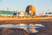 Puddle and dockyard in Hirtshals — Stock Photo