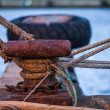 Ropes at a quay — Stock Photo
