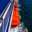 Orange lifeboats attached to a ferry — Stock Photo