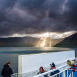 Sunbeam breaking through clouds on Faroe Islands — Stok fotoğraf