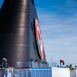Black funnel of a ferry — Stock Photo