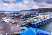 Ferry being loaded with cargo in Torshavn, Faroe Islands — Stock Photo