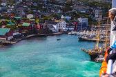 Rowing boat entering the port at Torshavn, Faroe Islands — Stock Photo