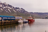 Three boats at Seydisfjoerdur — Foto Stock