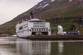 White ferry at Seydisfjoerdur — Stock Photo