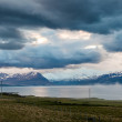 Fjord with clouds on Iceland — Stock Photo