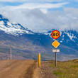 Road with traffic sign on Iceland — Stock Photo