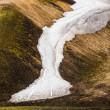 Stock Photo: Line of snow on mountainside on Iceland