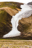 Line of snow on a mountainside on Iceland — Stock Photo