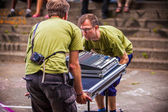 Festival workers — Stock Photo