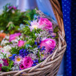 Basket of roses — Stock Photo