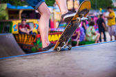 Man skates on a skateboard — Stok fotoğraf