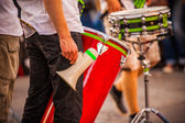 Drummer with a megaphone — Stock Photo