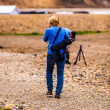 Female photographer on Iceland — Stockfoto