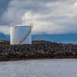 Silo and lightouse on Iceland — Stock Photo