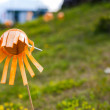 Orange plastic flowers — Stock Photo
