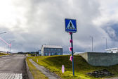 Decorated traffic sign on Iceland — Stock Photo