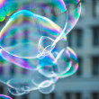 Floating soap bubbles — Stock Photo
