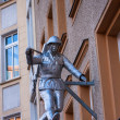 BERLIN - MARCH 5: Metal soldier sculpture attached to a house facade at Brunnenstrasse — Stock Photo