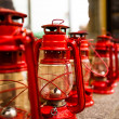 Row of red oil lanterns — Stock Photo
